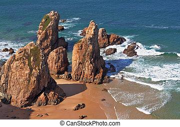 ponto, escondido, westernmost, cabo, pitoresco, portugal, costa, manhã, -, da, pedras, atlântico, ocean., europe., praia, roca, amanhecer