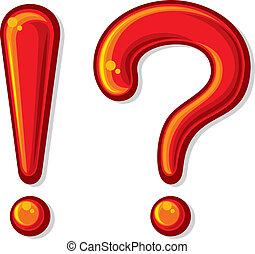 ponto exclamação, marca pergunta