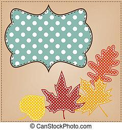 ponto, folhas, quadro, polca, outono