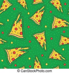 ponto, mão, retro, fundo, desenhado, remendo, pizza