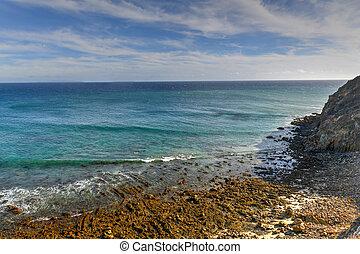 ponto, malibu, -, estado, dume, califórnia, praia