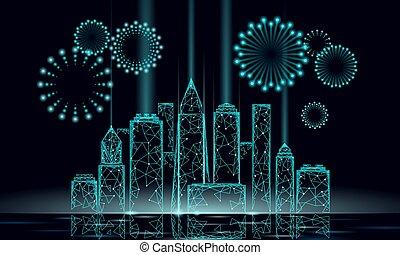 ponto, modernos, véspera, ano, template., azul, cidade, silueta, céu, polygonal, glowing, arranha-céu, partido, feriado, natal, 3d, ilustração, escuro, novo, linha, cartão, luz, saudação, vetorial, cityscape., noturna