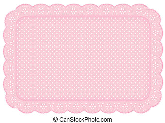 ponto, tapete, lugar, renda, doily, polca, cor-de-rosa