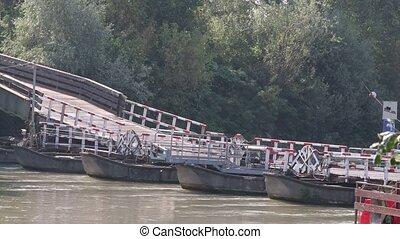 pontoon bridge over the Po in Cesole Mantua Italy