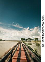 pontoon bridge with blue sky landscpae