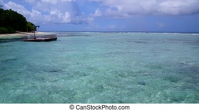 pontoon in maldives white sand beach tropical islands with...