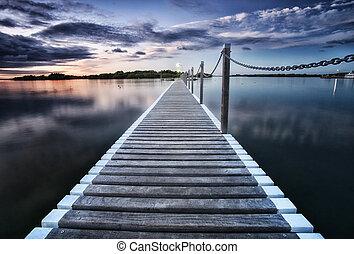 pontoon jetty across the water
