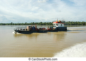 pontoon ship on the river