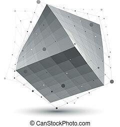 pontos, abstratos, objeto, linhas, isolado, whi, distorcido, 3d