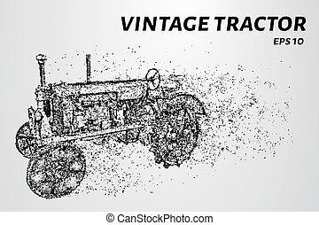 pontos, antigas, vindima, ilustração, particles., vetorial, consiste, circles., trator
