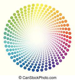pontos, arco íris, spirale, colorido, padrão, tubo, circular