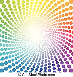 pontos, arco íris, spirale, infinidade, colorido, padrão, tubo