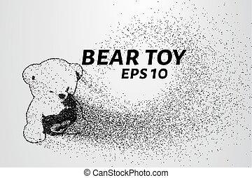 pontos, brinquedo, ilustração, vetorial, particles., circles., urso, consiste