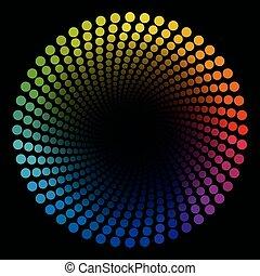 pontos, colorido, padrão, tubo, espiral, terminando, pretas, circular
