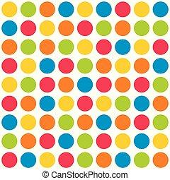 pontos, coloridos, padrão, polca, vetorial, fundo, azulejo, branca
