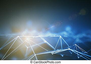 pontos, conectado, cinzento