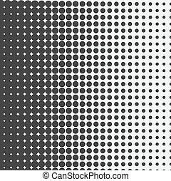 pontos, dots., halftone, experiência., vetorial, pretas,...