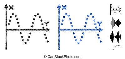 pontos, enredo, ícone, mosaico, seno, redondo