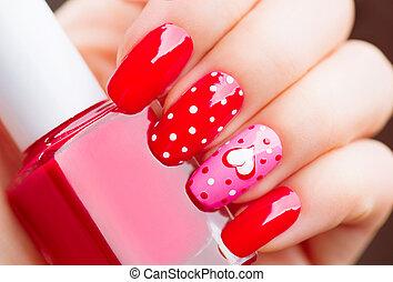 pontos, estilo, pintado,  valentines, polca, luminoso,  manicure, corações, feriado, Dia