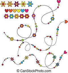 pontos, flores, cachos, corações