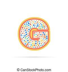pontos, grupo, carta g, isolado, ilustração, vetorial, fundo, icon., branca