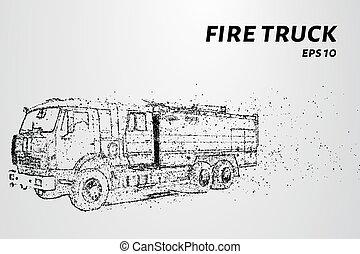 pontos, illustration., fogo, particles., vetorial, caminhão, consiste, circles.