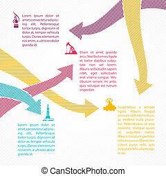 pontos, infographics., industrial, setas