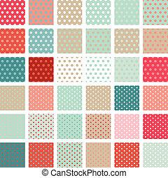 pontos, jogo, polca, abstratos, Padrão, seamless, 36, retro,...