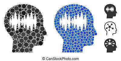 pontos, ondas, redondo, ícone, cérebro, composição