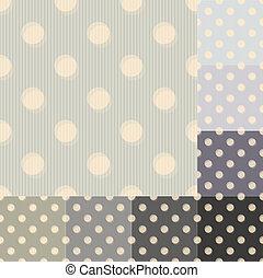pontos, padrão, polca, seamless, cinzento