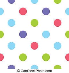 pontos, padrão, vetorial, polca, coloridos