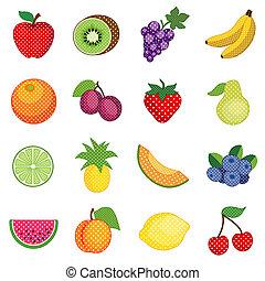 pontos, polca, frutas