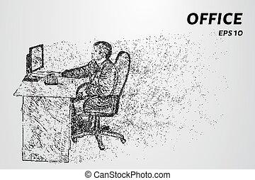 pontos, trabalhador escritório, ilustração, atrás de, vetorial, computer., consiste, circles., homem