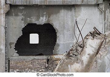pontosság, beton, wall., kilyukaszt, pusztítás, maradék, épület, törött, nagy