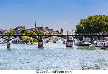 ponts, arts, et, pont neuf, dans, paris, sur, les, rivière, sena., paris, france