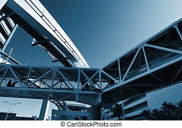 ponts, bâtiments, fait, infrastructure., urbain, noeud, entre, monorail.