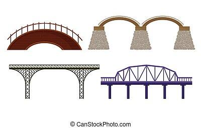 ponts, blanc, vecteur, fait, ensemble, béton, divers, métal, fond, isolé, types