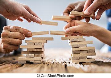 ponts, collaboration, bâtiment, ou, concept