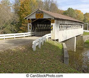 ponts couverts, dans, nord-est, ohio, counties., tôt,...