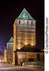 """ponts couverts, em, """"petite, france""""., touristic, área, em, strasbourg, -, alsácia, frança"""