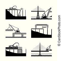 ponts, différent, construction