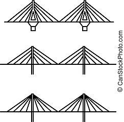 ponts, différent, ensemble, art, câble, s'égaré, trois, ...