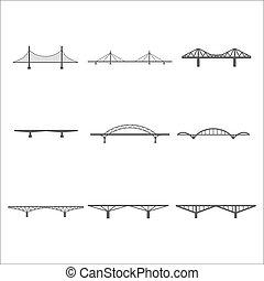 ponts, icônes, ensemble