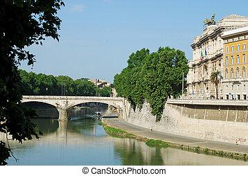ponts, italie, tiber, sur, -, rome, rivière