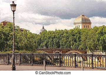 ponts, italie, tiber, sur, rome, rivière