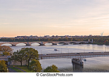 ponts, panorama, washington dc, rivière potomac, travers, sunset.