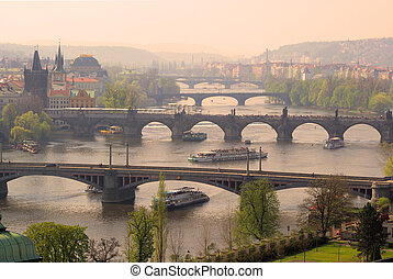 ponts, prague, aérien, 08, vue