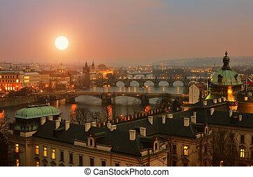ponts, prague, coucher soleil, vue