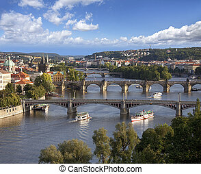 ponts, prague, vltava rivière, panorama