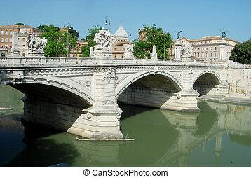 ponts, sur, les, rivière tibre, dans, rome, -, italie